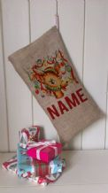 Personalized Decorated Reindeer Father Christmas Xmas Santa Sack / Stocking Bag Jute Hessian.